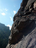 This is the first pitch of the route