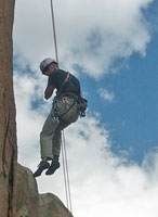 The rappel is overhanging for 80 feet